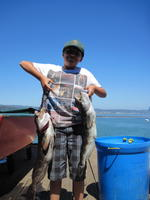 Ethen and two lingcod