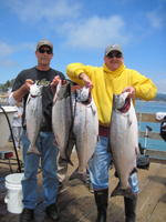 Parker and Larry and salmon