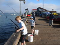 Andrew and Nathan fishing the wharf