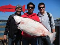 Pat, Pat, Alex, and big halibut