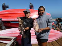 PJ and Alana and grass cod and brown rock cod