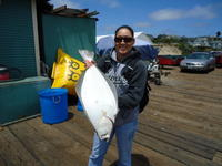Capitola: Cindy with her first halbut.